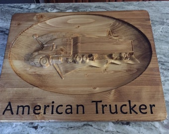 Carved Wood Salute to the American Trucker sign/plaque