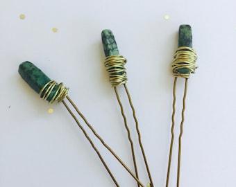 Dyed Agate Hair Pins. Hair Pins. Hair Jewels.