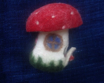 Amanita muscaria, mushroom house, felt, wet and needle felted, seasonal decor, puppetry, whale village toy