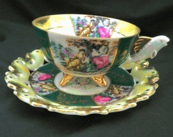 Castle made in japan pedestal art deco FISH handle Vienna lady 3 footed luster tea cup and saucer