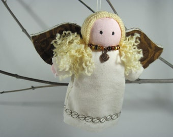 Coffee Angel Ornament With Blond Hair Handmade