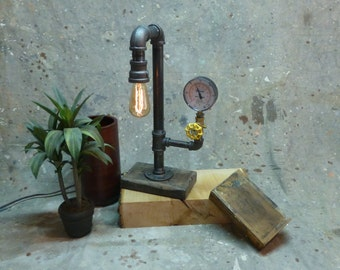 Lamp, Black Pipe, Steampunk, Industrial, Rustic, Recycled