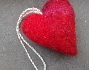 heart, needle felted, soft, ornament, eco, heart, decoration, valentines gift, 100% wool