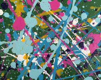 12 x 12 Green (1) splatter painting