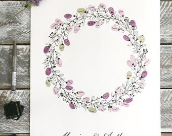 WEDDING guest book. Round Wreath + 2 ink pads, A3 size Fingerprint Guest Book 30-60 guest signatures. FREE postage within Australia.
