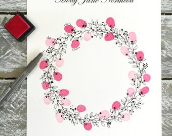WEDDING Wreath Round +  2 ink pads & 1 pen. Fingerprint Guest Book. SMALL A4 suitable 10-30 guest signatures. FREE postage within Australia.