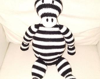 Handemade Knit Stuffed Zebra