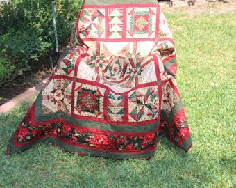 Christmas Lap Quilt or Throw  62X62 inches