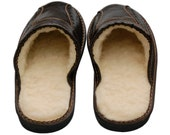 Mens black slippers, natural LEATHER shoes, fu warm  boots, wool shoes, men christmas gift for him healthy foot  winter home moccasins