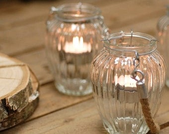 Glass Lantern Tea Light Holder With Rope Handle