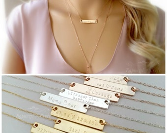 Custom Coordinates Bar Necklace | Personalized Bar Necklace | Location Necklace | Bridesmaid Gift | Hand Engraved Jewelry