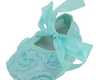 Aqua Rosette Crib Shoe