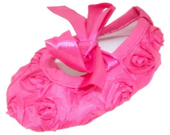 Hot Pink Rosette Baby Crib shoe