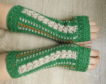 MADE TO ORDER 16099 Green-beige mittens, Crochet mittens, Fingerless gloves, Fingerless mittens, Crochet fingerless gloves, Gloves