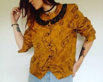 Vintage floral collar blouse 36/S, 38/M