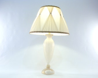 """Murano Glass Table Lamp """"White Pulegoso"""" and gold foil – Made in Italy"""