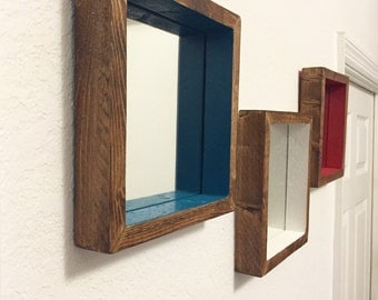 Set of 3 Wooden Mirrors