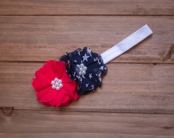 4th of July red, white and blue patriotic infant headband