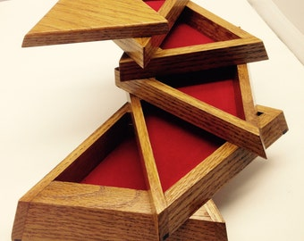Unique Wooden Handmade Triangle Jewelry/Trinket box