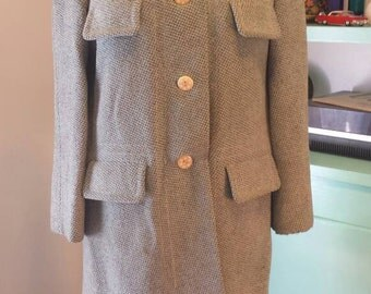 60s Sportleigh Wool Coat sz M or 8-10 needs repair