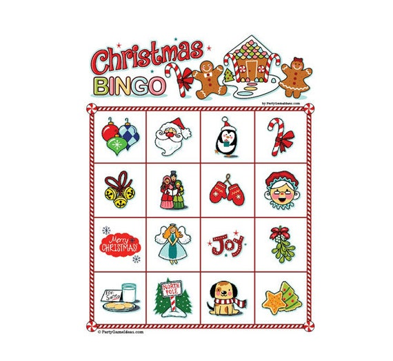 Christmas bingo 4x4 25 card pack for 4x4 bingo template