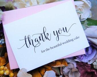 VENDOR THANK YOU Card, Thank You for the Beautiful Wedding Cake, Wedding Thank You Card, Vendor Thank You Card, Vendor Tip Card
