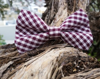 Upcycled Burgundy and White Checkered Removable Dog Bow Tie Dog Neck Wear