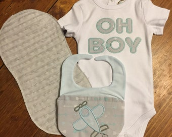 Embroidered Infant Onesie with Matching Bib and Burp Cloth