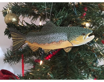 Hand Painted Brown Trout Ornaments/ Ornaments/ hand made/ fish ornaments/ fishing decorations/ trout decor/ brown trout decorations