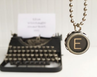vintage typewriter necklace letter {e} authentic