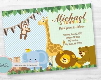 Printable Safari Birthday Invitation/ Jungle Birthday Invitation/ Animals Invitation/ Zoo Invitation