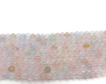 4mm Morganite Smooth multi round beads, Genuine Morganite beads. length in 40 Cm