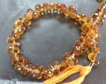 Madeira Citrine faceted Drop small size 4x6mm, top quality briolette in dark color