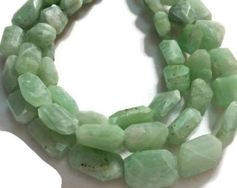 """Green Moonstone Faceted nugget 10X14MM , Length in 10"""""""
