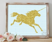 Unicorn printable, gold glitter, nursery wall art, instant download, print, glitter unicorn, unicorn, gold glitter