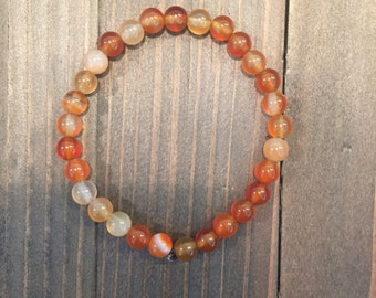Agate 6mm beaded bracelet