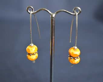 Handmade Sterling Silver Earrings with Yellow Lampwork Beads