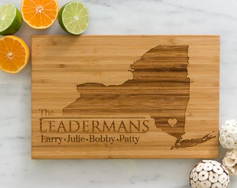New York Personalized Cutting Board Men Chef Dad Mom Gift Initials Home State Wedding Anniversary Kitchen Decor Shower Family Monogram Wood