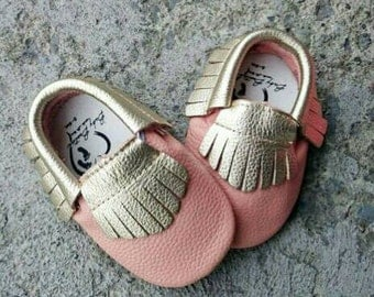 Pink and gold baby moccasins leather baby moccasins soft sole moccasin genuine leather crib shoes