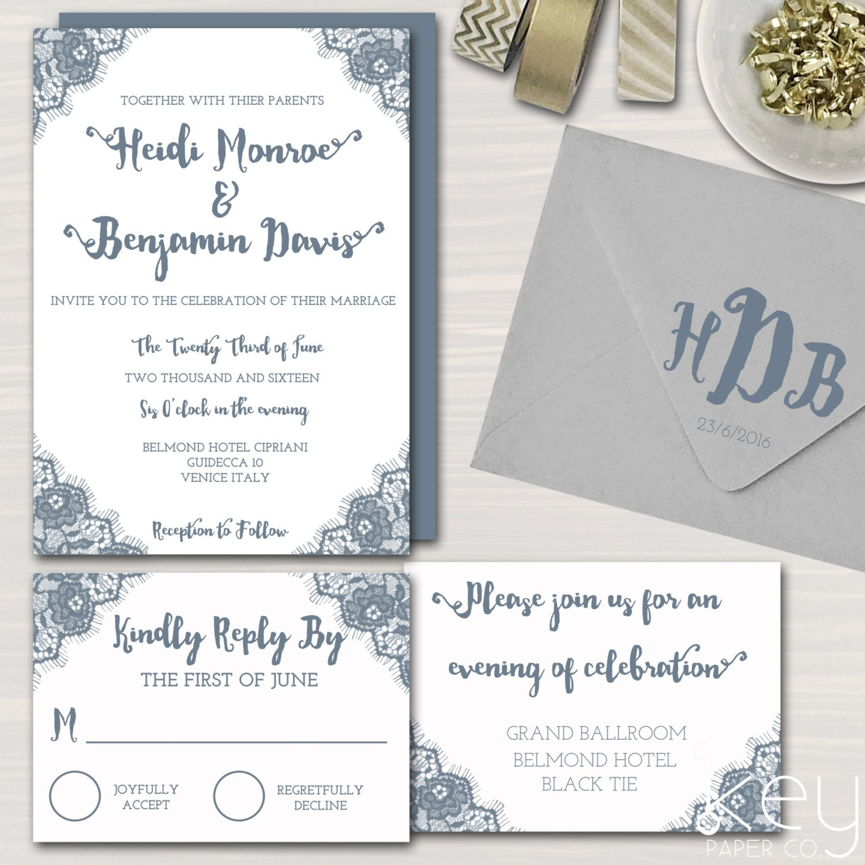 Printable Wedding Invitation Sets: Lace Wedding Invitation Set Printable Wedding By