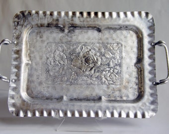 Vintage Cromwell Hand Wrought Aluminum Rose Handled Serving Tray