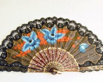 Large Antique Black Linen Lace and Celluloid Ladies Folding Fan