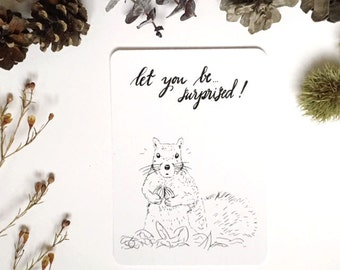 Squirrel card, Quote card, inspirational card, inspirational quote, encouragement card, positive inspiration, black and white wall art