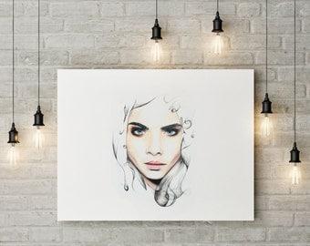 Print realistic and original Cara Delevingne
