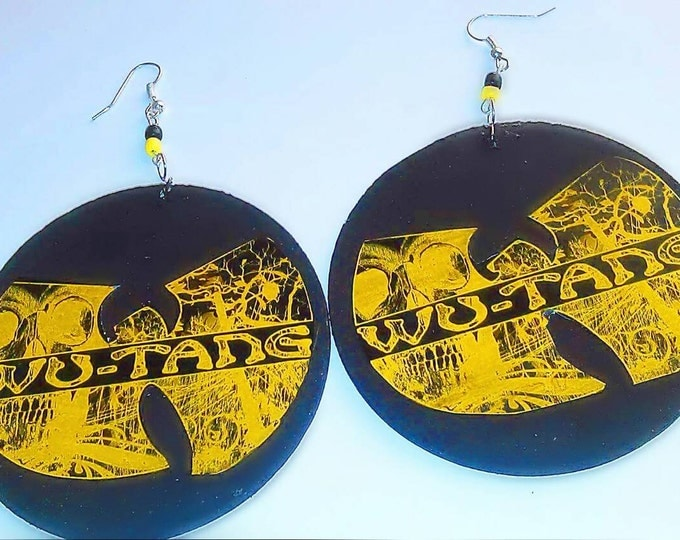 Wu Tang Clan handmade hip hop wood earrings