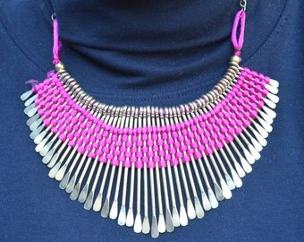 Bib Style Necklace with Silk Threads