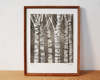 forest 3 · original linocut · Limited Edition · DIN A4
