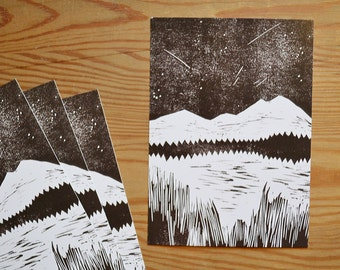 """Shooting stars"" postcard 4 piece"