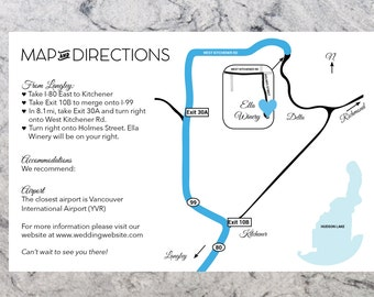 Custom Wedding Directions and Map Information Printable - Wedding Map Card - Details Map Card
