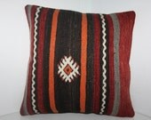 """Handmade Kilim Pillow Faded Colors  16"""" x 16"""" 40cm x 40cm Vintage Turkish Kilim Zippered Pillow Cover Vegetable Dyes Turkish Pillow Covers"""